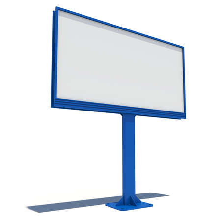 Big blue street billboard  Isolated render on a white background photo