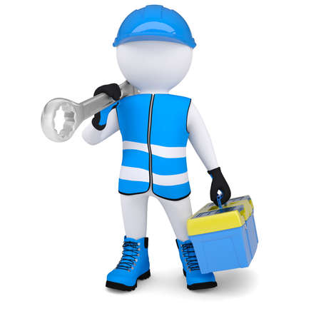 hi hat: 3d man in overalls with a wrench and tool box  Isolated render on a white background