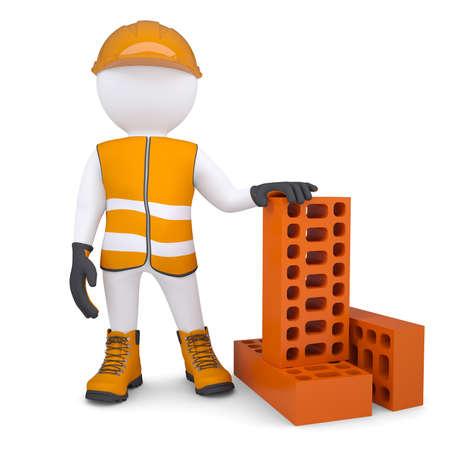 bricklayer: 3d hombre en la forma de construcci�n con ladrillos aislados hacen en un fondo blanco