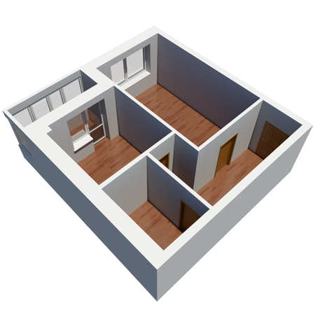 overhead view: 3d apartment plan  Isolated render on a white background