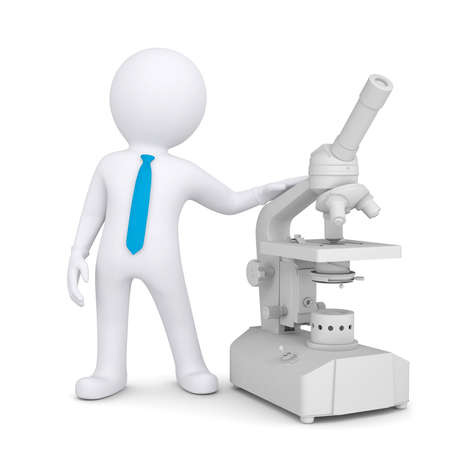 researcher: 3d man with a microscope  Isolated render on a white background