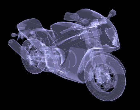 Sport bike  The X-ray render on a black background photo