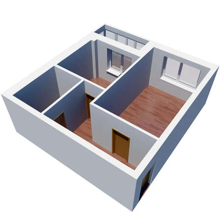 condominiums built: 3d apartment plan  Isolated render on a white background