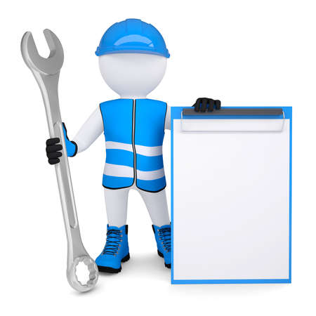3d man in overalls with a wrench  Isolated render on a white background Standard-Bild