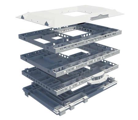 3d apartment Plan machen Isoliert auf einem weißen Hintergrund