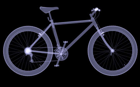 Bicycle  The X-ray render on a black background photo