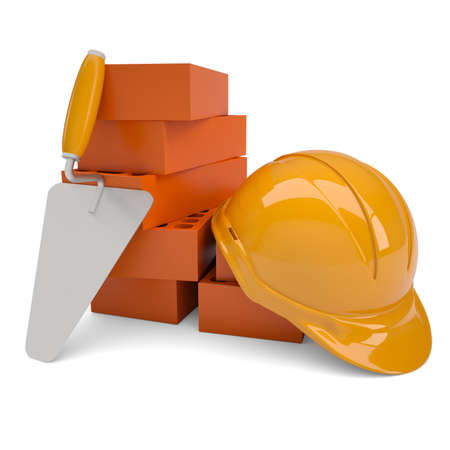 Bricks, trowel and a helmet  Isolated render on a white background photo