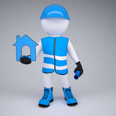 glove puppet: 3d white man in overalls with house ico  Render on a gray background