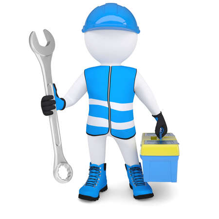 3D Mann in Overalls mit einem Schraubenschlüssel und Tool-Box isoliert render auf weißem Hintergrund Standard-Bild