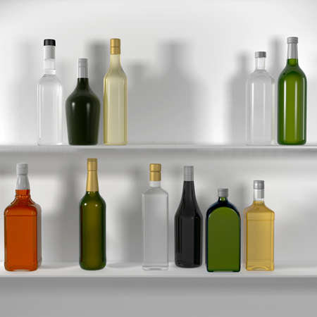 The bar shelves with bottles  Isolated render on a white background photo