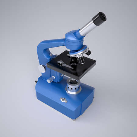 Blue microscope  Studio render on a gray background Stock Photo - 22318905
