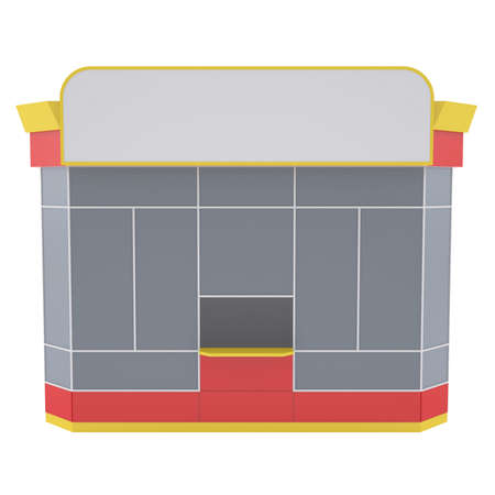 frontdoor: Small shop  Isolated render on a white background