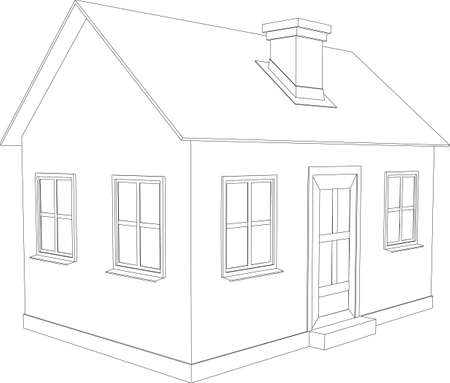Small house  Wire-frame building on the white background  EPS 10 vector format Stock Vector - 22318914