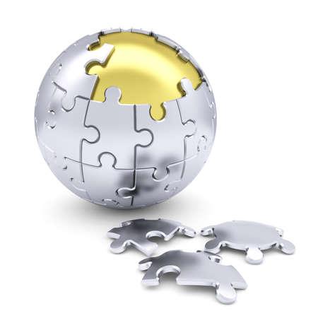 Kugel aus Rätsel machen Isoliert auf einem weißen Hintergrund Standard-Bild - 22447895