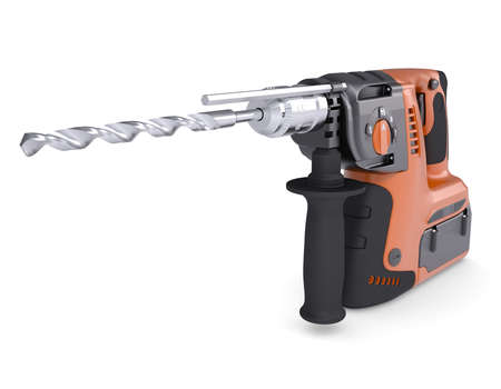 Rotary hammer  Isolated render on a white background