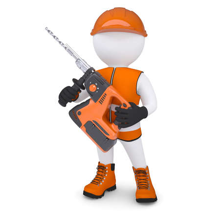 perforator: 3d white man holding electric perforator  Isolated render on a white background
