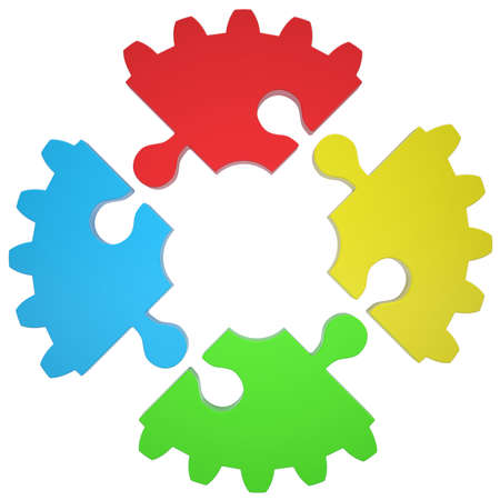 Gear consisting of puzzles  Isolated render on a white background photo