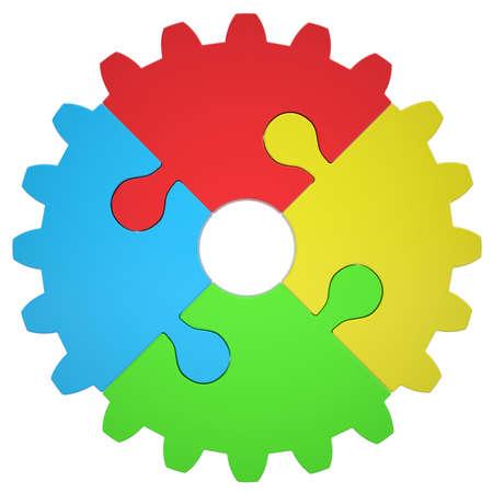 Getriebe, bestehend aus Rätsel Isoliert render auf weißem Hintergrund Standard-Bild - 22447910