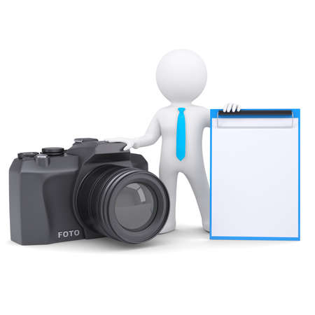 3d white man and a camera  Isolated render on a white background Stock Photo