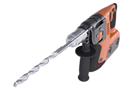 Rotary hammer  Isolated render on a white background Stock Photo - 22447908
