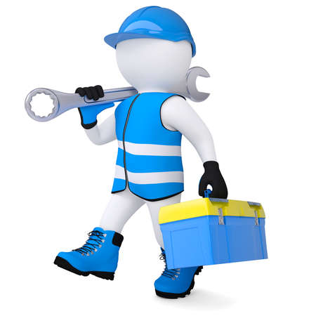 job offers: 3d man in overalls with a wrench and tool box  Isolated render on a white background
