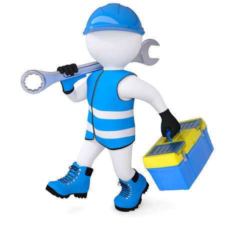 3d man in overalls with a wrench and tool box  Isolated render on a white background photo