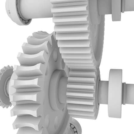 shafts: White shafts, gears and bearings  3d render on white background