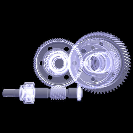 x ray machine: White shafts, gears and bearings  X-ray render isolated on black background
