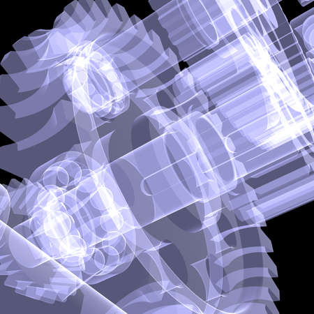 x ray machine: White shafts, gears and bearings  X-ray render on black background