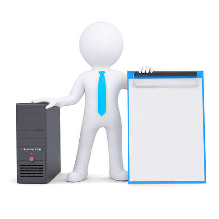 3d white person and a computer system unit  Isolated render on a white background