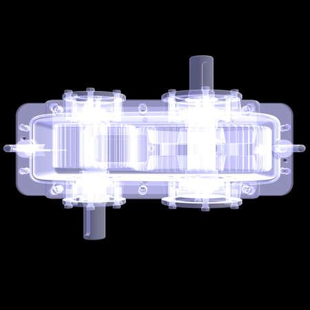 greasing: 3d reductor de rayos X hacen aisladas sobre fondo negro Foto de archivo