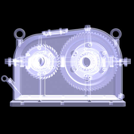 greasing: 3d reductor  X-ray render isolated on black background Stock Photo