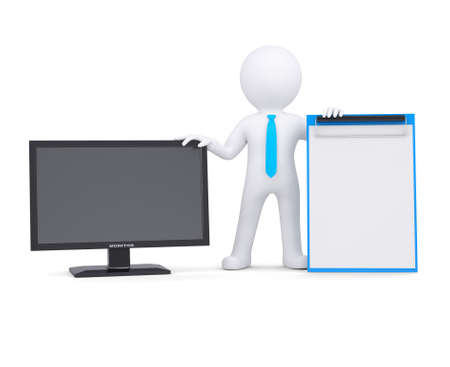supported: 3d white man and the monitor  Isolated render on a white background Stock Photo