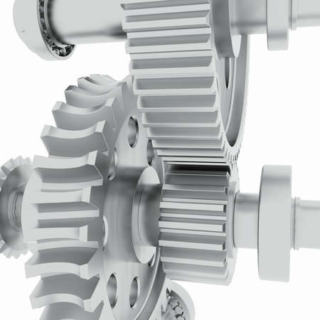 machined: Metal shafts, gears and bearings  3d render on white background Stock Photo