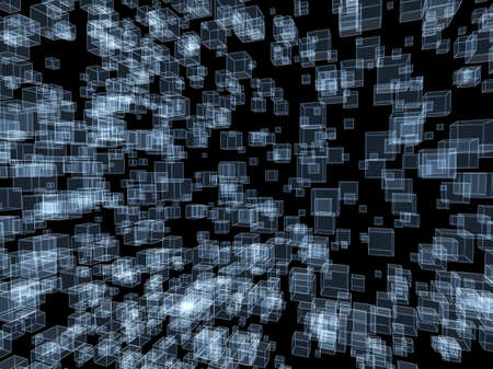 3d abstract background  Blue cubes on black background photo