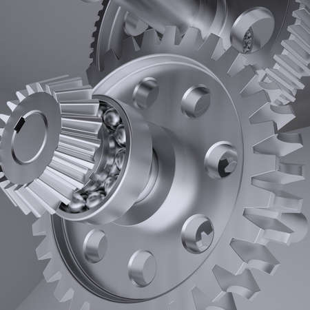 machined: Metal shafts, gears and bearings  3d render on gray background