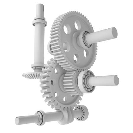 shafts: White shafts, gears and bearings  3d render isolated on white  Stock Photo