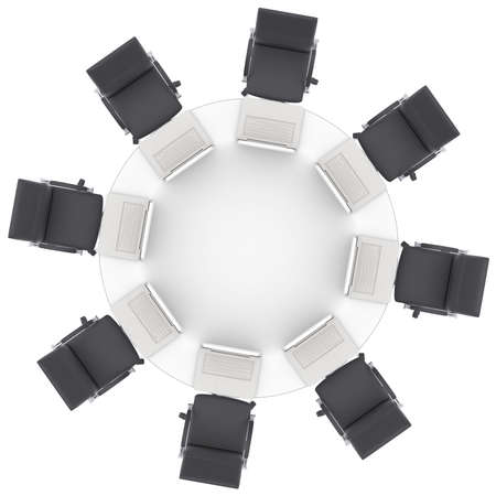 Laptops on the office round table and chairs  Isolated render on a white  photo