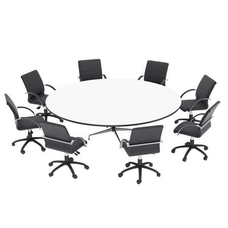 Office chairs and round table  Isolated render on a white  photo