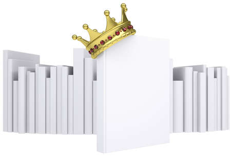 best book: A white book and gold crown  Isolated render on a white background
