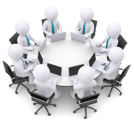 surf team: Businessman with a laptop sitting at a round table  Isolated render on a white background