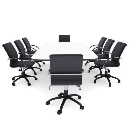 round chairs: Office chairs and round table  Isolated render on a white  Stock Photo