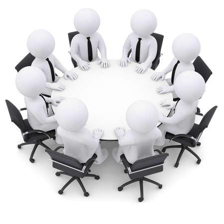 Kaufmann sitzt am Tisch Isolierte render auf weißem Standard-Bild - 22722882