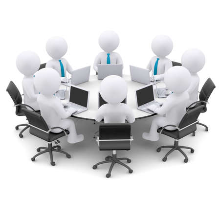 surf team: Businessman with a laptop sitting at a round table  Isolated render on a white
