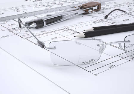 Glasses, ruler, compass and pencils lie on the drawing  3d render photo