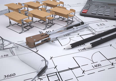 Drawing of the arrangement of furniture and tools engineer  3d render photo