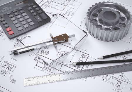 Lunettes de vue, règle, compas, calculatrice et les engins se trouvent sur le dessin rendu 3D