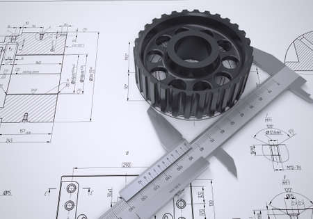Caliper and gear in the drawing  Isolated render on a blue background Stock Photo