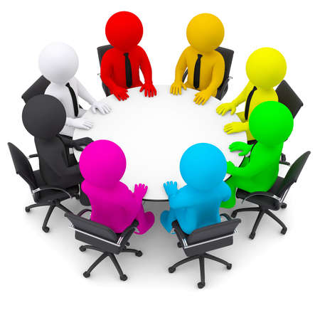 Multicolored people sitting at a round table  Isolated render on a white background photo
