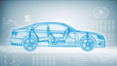 Hi-tech auto op een blauwe achtergrond Het concept van de toekomstige technologieën